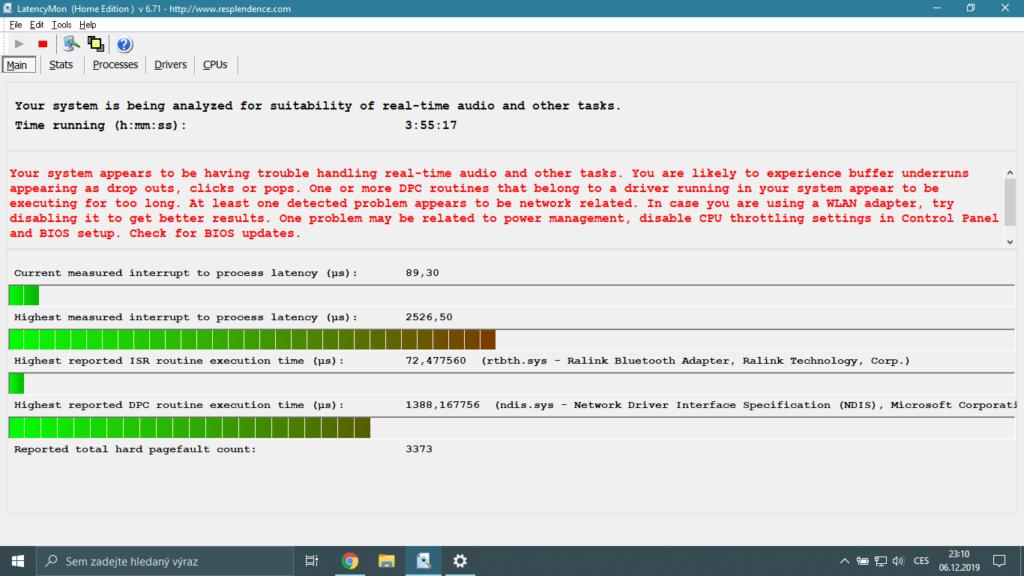 Latency Monitor - velký problém